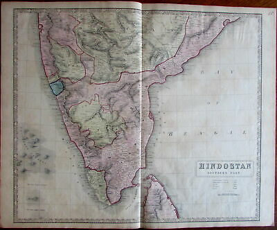 India southern portion c. 1850 large old engraved map beautiful hand color