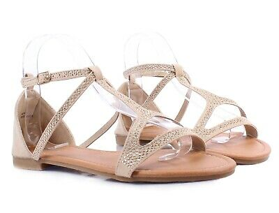 Beige Slingback Ladies Ankle Strap Sexy Women Sandals Gladiator Shoes Size 9