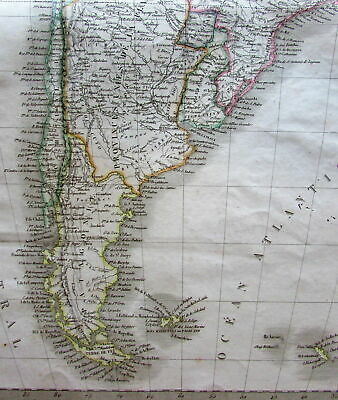 South America continent no Bolivia huge Peru 1829 large old engraved map