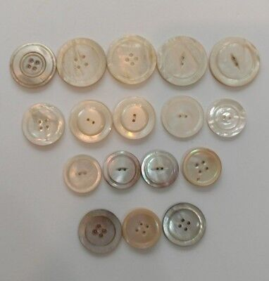 Antique Vintage Assortment Mother Of Large Pearl Buttons, Coat, Jacket, Qty 17