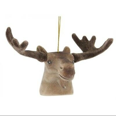 8.9cm Brown Moose Head with Large Antlers Christmas Ornament. Unbranded