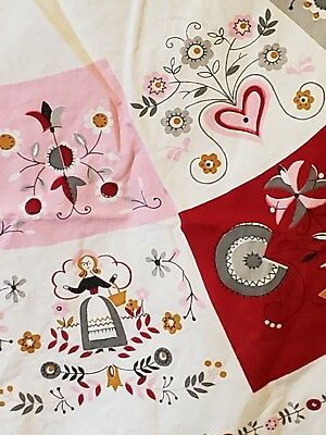 Vintage 1950's tablecloth. EUC.  Pink, red, white folk art.