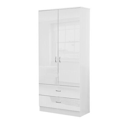 White High Gloss 2 Door 2 Drawer Combination Wardrobe Bedroom Furniture.