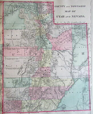 Utah Nevada states 1887 Mitchell Bradley large old map hand colored