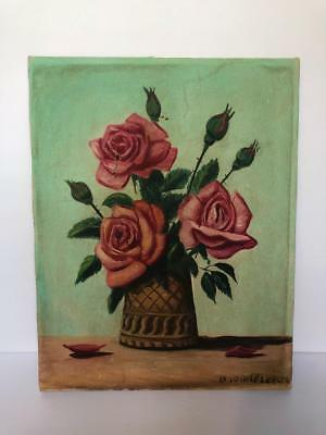 VINTAGE ANTIQUE FLORAL ROSE OIL ON CANVAS PAINTING 1950's SHABBY FRENCH