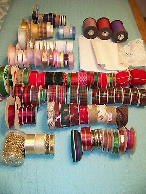 Large lot of Mixed Ribbon + extras, Mixed sizes, Multi Color, Craft, Hair bow