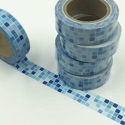WASHI TAPE 15mm x 10m - Blue mosaic tiles