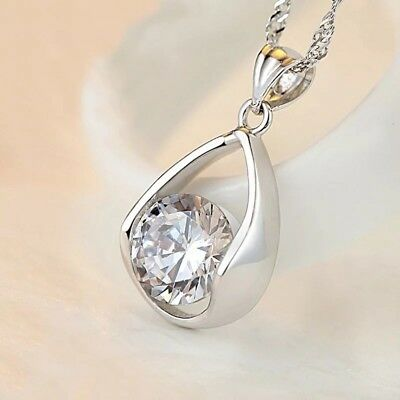 925 Sterling Silver Tear Drop Pendant Chain Necklace Womens Jewellery Gift Uk