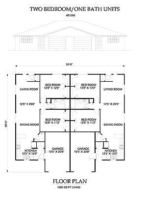 Two bedroom one bath duplex Apartment 1060 sq ft per unit plan with garage