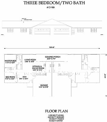 Three bedroom Two bath Duplex with garage Apartment 1109 sq ft per unit plan