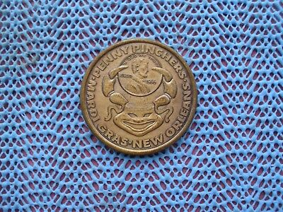 1968 PENNY PINCHERS / Whoosh - World's Apart  antique bronze Mardi Gras Doubloon