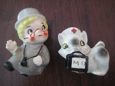 Vintage~Doctor and Cat Nurse Salt and Pepper Shakers~Kitty~Japan