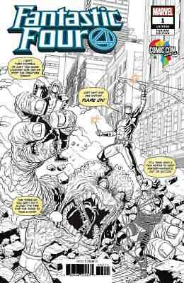 Fantastic Four 1 2018 Comic Con Africa Will Sliney B&w Variant Nm