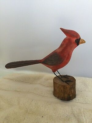 antique hand carved WOOD cardinal ARTIST signed