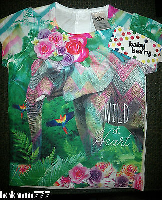 Newborn Girl 0000 Wild At Heart Photographic Elephant Floral Jungle Tee