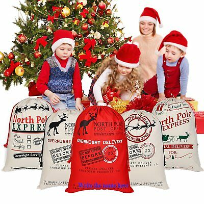 Large Canvas Merry Christmas Santa Sack Xmas Stocking Reindeer Gift Storage Bag