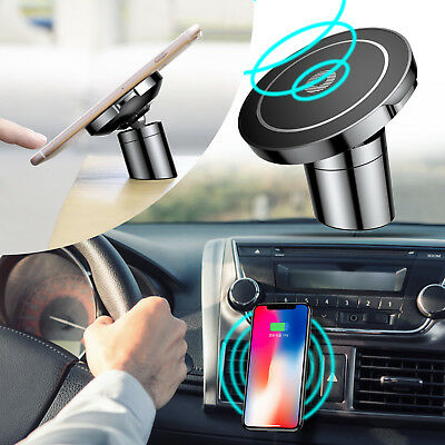 10W Qi Wireless Car Charger Fast Charging Pad Magnetic Holder For Samsung iPhone