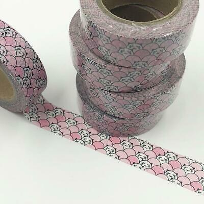 WASHI TAPE 15mm x 10m - Pink panda scales