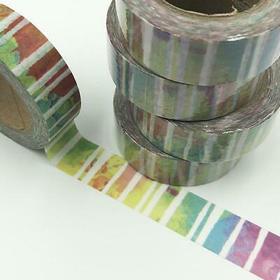 WASHI TAPE 15mm x 10m - Multi coloured wash white lines