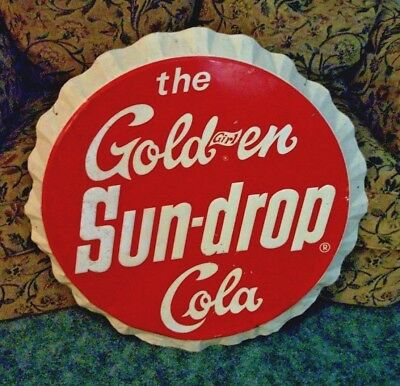 "1965 The Golden Sun Drop Cola Soda Pop Gas Station 33"" Embossed Cap Metal Sign"