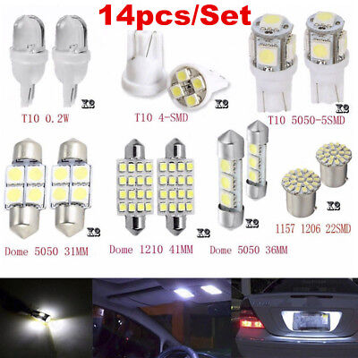 14Pcs LED Interior Package Kit For T10 36mm Map Dome License Plate Lights White