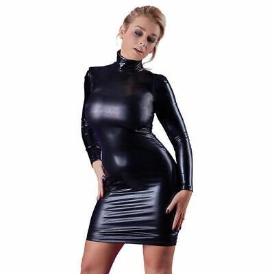 Cottelli Collection Party Wetlook Kleid Stehkragen schwarz S Dress Partykleid