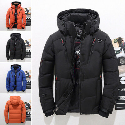 2018 Men's Duck Down Coat Thick Hooded Down Jacket Winter Parka Outerwear