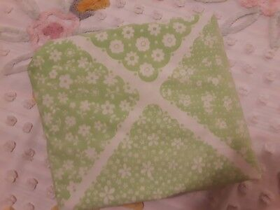 """Vintage Wamsutta FULL Fitted Sheet Green & White Patchwork Look Blend 8"""" Pkts"""