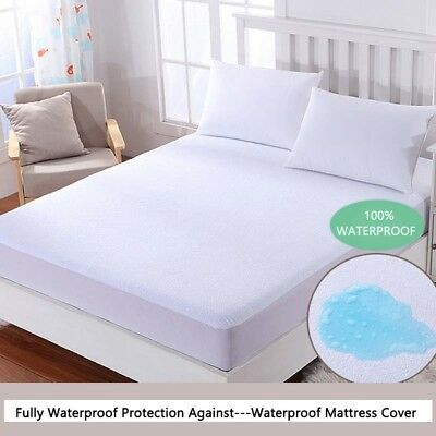 Waterproof Terry Toweling Mattress Protector Fitted Sheet Bed Cover King Size