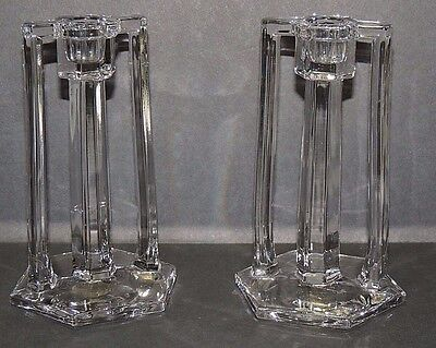ART DECO Pair Double Handle PILLAR Style CLEAR GLASS CANDLESTICKS - Beautiful