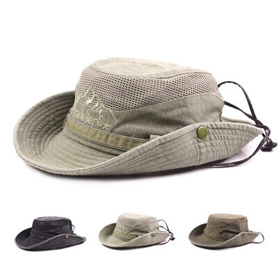 Mens Bucket Hats Cotton Embroidery Outdoor Outdoor Mesh Breathable Sunshade Cap