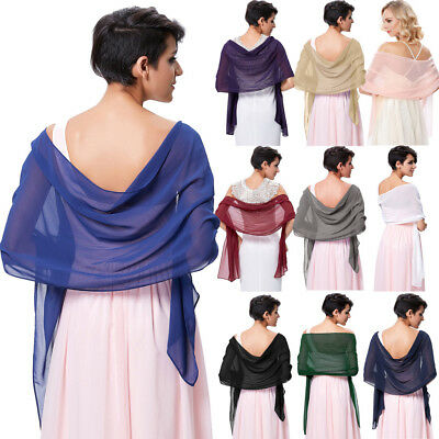 Women Chiffon Solid Colors Shawl Wrap Scarf Evening Cocktail Party Dress Wraps