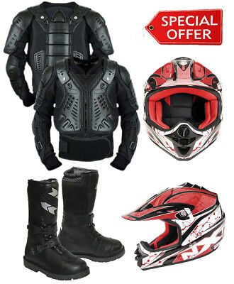 KIDS/CUBS BLACK SCORPION SPINE GUARD Motorbike Leather Boots & MX Helmet RED