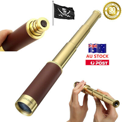 Waterproof Retro 25x30 Zoomable Telescope Monocular Collapsible Handheld Camping