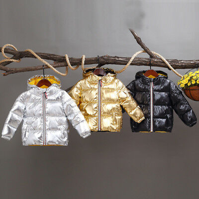 Kids Girls Boys Fashion Coat Winter Warm Cotton Bright Space Bread Down Jackets