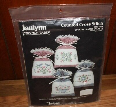 Vintage 1987 Janlynn Counted Cross Stitch Kit Country Classic Sachets NEW/SEALED