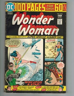 Wonder Woman 214 with Green Lantern - 100 Page Giant  1974 VG/Fine