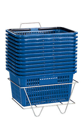 "Set 12 Blue Shopping Baskets With Stand Plastic Retail Merchandise 12"" x 17"""