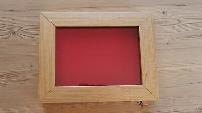 Collectors display case, buttons, badges, medals, wall hang frame,GOLD/RED