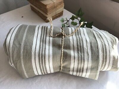 Vintage Mattress Ticking French Cotton Fabric Khaki & Cream Herringbone 440 cm
