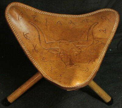 Fred Harvey Hand Finished Steerhide Stool / Chair with Buffalo Design