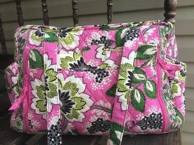 "Vera Bradley Stroll Around Baby Diaper Bag In ""Priscilla Pink"" Green Black EUC"