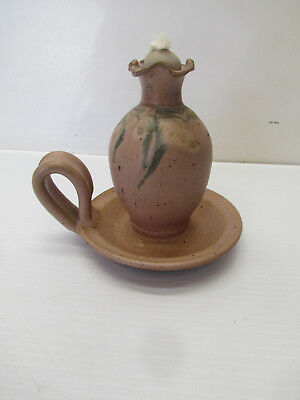 "Dick Lehman Ceramic Pottery Oil Lamp, Mauve,  Goshen, Indiana 4 3/4"" tall."