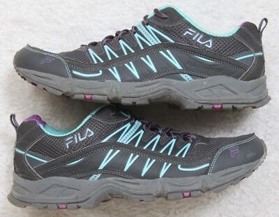 7d4a9421dc28 Fila Mens Lace Up Gray Blue Athletic Running Training Shoes 11 Eleven 42.5  Euro