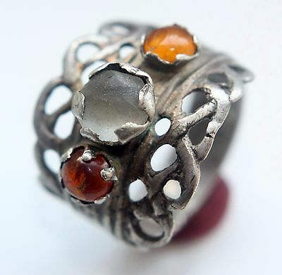Ancient Old Medieval Silver Ring With Amber And White Gem Inlay