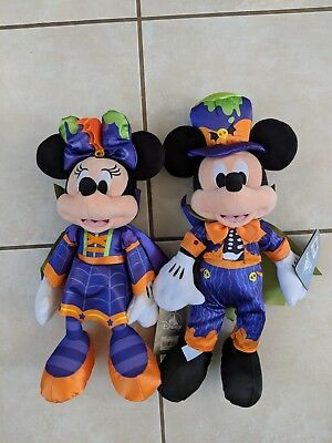 "2018 Mickey AND Minnie Mouse Halloween Plush - 16"" & 17'' SET OF 2 NWT"