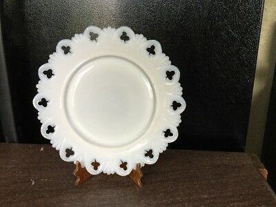 Vintage Club and Shell Opalescent Milk Glass 8.5 Inch Plate