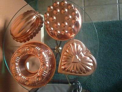 Set of 4 Vintage Copper Plated Aluminum Jello Mold Wall Hanging Decor