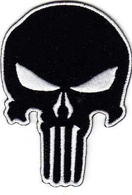 PUNISHER SKULL BLACK Iron On Patch Military Army Tactical Combat