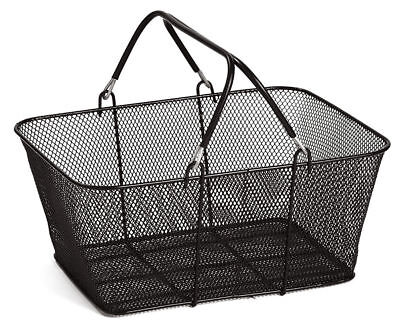 "Black Metal Shopping Basket Mesh 17"" x 12"" x 7"" Supermarket Merchandise Retail"